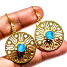 Blue Chalcedony Gold Plated Gemstone Jewelry Earring 195