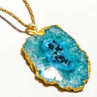 Blue Solar Agate Gold Plated Gemstone Jewelry Necklace 16 18