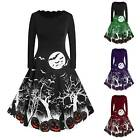 Women Halloween Midi Dress Ladies Retro Long Sleeve Evening Party A Line Dresses
