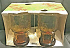 Vintage Amber Juice Glasses by Libbey in Country Garden Daisy Pattern 1970's
