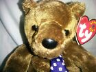 Ty Beanie Baby HERO Plush Brown Bear with Blue and White Tie MWMT