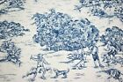 Navy Blue 100 Cotton Rustic Toile Waverly Print 55 Upholstery Drapery Fabric