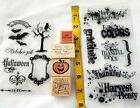 19 Wooden Stamps  Silicone Stamps Lot Halloween Thanksgiving Holidays