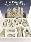 Fine Porcelain Nativity 13 Piece Complete Set With Glass Display Tray