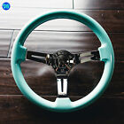 VIILANTE 2 DEEP DISH 6 HOLES STEERING WHEEL TIFFANY MINT CHROME SPOKE FITS NRG