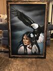 Vintage Black Velvet Painting of A Native American  Eagle by David Ortiz 40x28