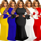 Women Mesh Bow Long Sleeve Bodycon Dress Solid Ruffle Party Maxi Dress Plus Size