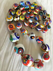 Vintage Venetian Millefiori Graduated Glass Bead Necklace  24 Length