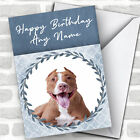 Pit Bull Terrier Dog Blue Animal Personalized Birthday Card