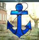 Stained Glass Anchor Suncatcher Nautical Decor Blue Anchor