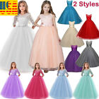 Flower Girl Long Dress Princess Party Wedding Bridesmaid Kids Formal Gown Dress