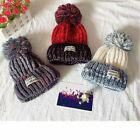 Wool Thick Baby Hat Cap With Fur Ball Patchwork Kids Bonnet Beanies Skullies New