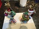 2 CHRISTOPHER RADKO DELUXE DELIVERY CHUBBY SNOWMAN CHRISTMAS ORNAMENTS STANDS