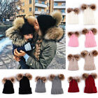 2PCS Cute Mother Baby Matching Fur Pom Bobble Hat Winter Warm Beanie Knitted Ca