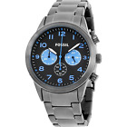 NWT Fossil BQ2124 Classic Chronograph Black & blue Stainless Steel Men's Watch