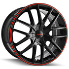 4 Touren TR60 17x75 4x100 4x45 +42mm Black Red Wheels Rims 17 Inch