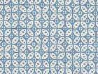 Fermoie Cotton Hamble Blue White Medallion Made in UK Upholstery Drapery Fabric