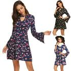 Women Vintage Style Keyhole Flare Sleeve Floral Swing Party Dress TXCL