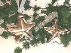 Sleigh Hill SILVER STAR MERCURY GLASS CHRISTMAS ORNAMENTS SET of 4