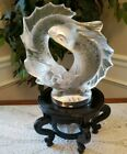 LALIQUE CRYSTAL GLASS LARGE DEUX POISSONS TWO FISH SIGNED  EXCELLENT 39