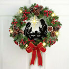 18Dia Lighted Nativity Berries Pinecones Bow Christmas Wall Door Festive Wreath