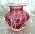 EXQUISITE CONTEMPORARY CRANBERRY ART GLASS VASE GOLD HEARTS ARTIST SIGNED