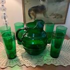 Vintage Emerald Forest Green Straight Sided Tall Ice Tea Glass (1 GLASS ONLY)
