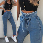 Womens Paper Bag Denim Jeans Laides High Waist Drawstring Elastic Trousers Pants