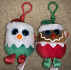 Ty Baby Beanies Holiday Clips Eggnog - Snowman Fruitcake - Gingerbread 2017 NWTs