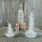 Vintage Candle Spun Glass Ornaments Clear Crystal Christmas Tree Set Lot