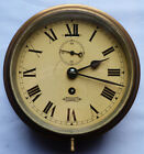 EXCELLENT EARLY 20TH CENTURY BRITISH MARINE BULKHEAD CLOCK WORKING WITH KEY