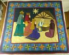 XMAS Nativity Quilt Wall Hanging We Three Kings Patchwork Applique Hand Stitched