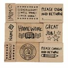 9 Piece Wood Mounted Rubber Stamp for Teacher Paper Grading for Classroom School