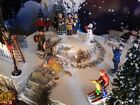 Christmas PARK display base, Dept 56 VILLAGE with ROCK wall & SIDEWALK, Lemax