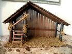 Nativity Large wooden Christmas Creche Stable with Moss
