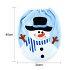 Merry Christmas Toilet Seat Cover Xmas Sonwman Bathroom Mat Home Decorations US