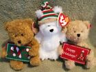 TY Beanies: LOT of 3 TEDDIES :  HO HO HO, CHILLINGSLY,  HAPPY HOLIDAYS ❄ MWMTS