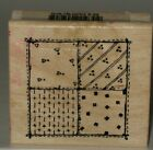 Hooks Lines  Inkers Rubber Stamp Patchwork Quilt Wood Mount 225 x 2