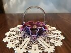 FENTON SMALL DEEP PLUM OPALESCENT HOBNAIL BASKET Hard To Find