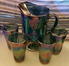 Indiana Carnival Glass Blue Iridescent Grape Harvest Pitcher  4 Glasses