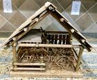 Vintage Large Wood Creche Nativity Stable 12x12x8 Folk Art Shingled Roof EMPTY