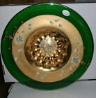 Bohemian Moser Art Glass Green Bowl w Hand Painted Raised Flowers 13 inch