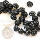Saturn Beads Rondelle Beads Opaque Jet Black Glass Beads Czech Beads 25 Pcs