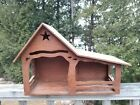 Vintage LARGE Handmade Rustic Lighted WOOD Nativity STABLE Manger Creche 19x13x8