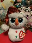 "Ty FLURRY -White Holiday Snowman w/Red Santa's Hat, 6"" Beanie Boo! *NEW*"