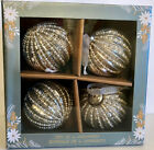 X4Tinsel Fir SILVER MERCURY GLASS CHRISTMAS ORNAMENTS PEARLS AND SILVER BEADS