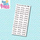 F131 Days of the Week Script Planner Stickers for Erin CondrenHappy Planner