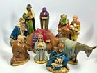 Vtg Holland Mold 10 Pc Ceramic Nativity Set Hand Painted 60 70s LARGE Camel 7
