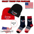 TRUMP 2020 MAGA WINTER  FUN 4 PIECES PACKAGE CHRISTMAS GIFT SOCKS HATS GO..