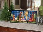 Vintage 70s Stain Glass Nativity Needlepoint Completed Sunset Stitchery 10 X 20